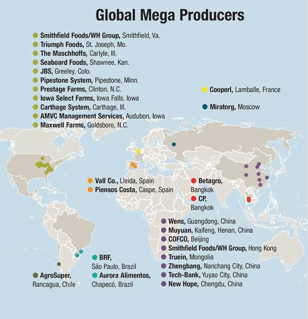 ISN - schweine.net - Sauenhaltung weltweit: Megaproduzenten aus USA Costa Va Spain Map on